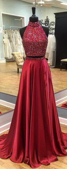 High Fashion Two-Piece High Neck Burgundy Long Prom/Evening Dress