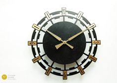Mid Century Starburst Wall Clock  Germany by VintageGermanClocks
