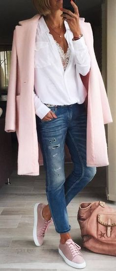 #fall #outfits / pastel pink coat + pink sneakers