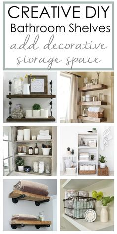 DIY Bathroom Shelves create storage above the toilet or under the sink. These budget friendly tutorials will spruce up with walls in your space while providing storage for towels or make up. Whether you fancy rustic farmhouse or modern style, you will exp Industrial Floating Shelves, Rustic Bathroom Shelves, Floating Shelves Bathroom, Diy Bathroom Decor, Bathroom Ideas, Bathroom Shelves For Towels, Bathroom Makeovers, Bathroom Small, Bathroom Inspo