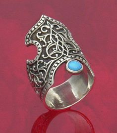 'Armenian Crown Ring' in sterling silver and turquoise.