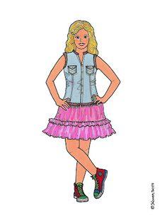 Karen`s Paper Dolls: Anne Lise Dressed to Print in Colours. Anne Lise klædt på til at printe i farver.
