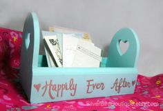 Wedding Card Box, Happily Ever After, Light Aqua Teal, Hearts, Wooden Wedding Keepsake Box, Pastel Wedding Decor, Wood, Love, Heart Card Bin by www.SilverBirdBoutique.etsy.com