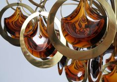 Pair of Italian Brass and Glass Chandelier in the Style of Sciolari image 5