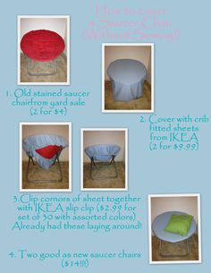 How To Cover An Old Saucer Chair Without Sewing, Finally Found An Easy Way!  Ikea Crib Fitted Seats Is The Trick!!