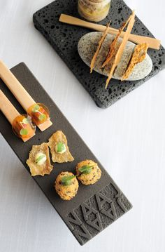JAAN Restaurant Singapore | ladyironchef: Food & Travel {amuse bouche platter: croquette, crispy chicken skin with Indian spices, smoked eel with pickled apple and jelly}