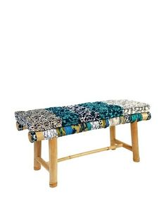 Bamboo Bench With Cushion, Blue