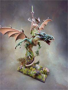 Goldmunds Welt: Wood Elves Glade Lord on Forest Dragon finished