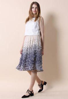 Clover Rain Pleated Crepe Midi Skirt - Bottoms - Retro, Indie and Unique Fashion