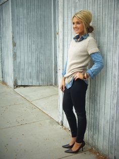 Have a sweater like this in my closet that I never wear because I didn't know what to pair it with!