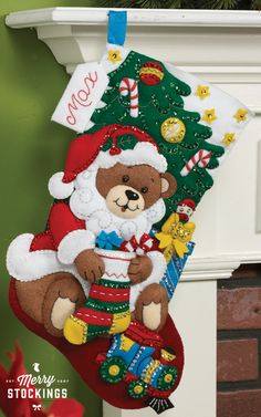 New Bucilla Christmas stocking kit | Teddy Bear Santa. Just released and MerryStockings has it in stock!