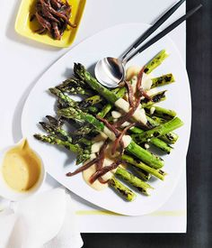 Australian Gourmet Traveller recipe for grilled asparagus with parmesan cream and anchovies by Berta restaurant in Sydney.