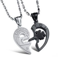 fc8a7de4bd Stainless Steel Couples Black Lock Key Heart Pendants Necklace 'I Love You'  Gift Fashion