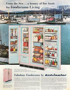 Retro Advertising, Vintage Advertisements, Vintage Ads, Vintage Stuff, Vintage Fridge, Vintage Kitchen, 1960s Interior Design, Vintage Appliances, Kitchen Appliances