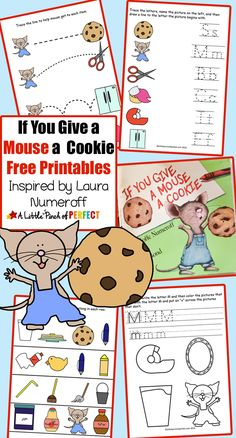 You Give a Mouse a Cookie Paper Plate Craft and Free Printables - If You Give a Mouse a Cookie Paper Plate Craft and Free Printables: Pre-writing, coloring, letters, counting, and more!More and More More and More may refer to: Preschool Books, Preschool Printables, Preschool Lessons, Preschool Classroom, Preschool Learning, Literacy Activities, Educational Activities, In Kindergarten, Fun Learning