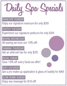 Promote your Spa with daily specials
