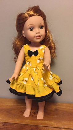 Bumble Bee Dress for 14.5 inch dolls by Seamstress4littles on Etsy