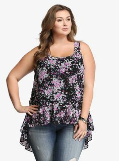 I wore this one last week with black cargo capri pants to work LOVE! Floral Chiffon Hi-Lo Tank Top Floral Chiffon, Chiffon Ruffle, Chiffon Tops, Print Chiffon, Ruffle Top, Trendy Plus Size Clothing, Plus Size Dresses, Plus Size Outfits, Curvy Fashion
