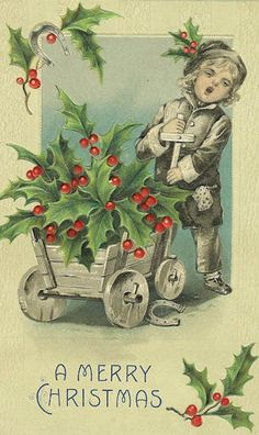 Vintage card.  Love the Holly leaves