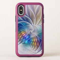 Floral Fantasy Colorful Abstract Fractal Flower iPhone X Case - flowers floral flower design unique style