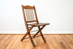 folding chair, wood folding chair, wooden chairs, antique wood folding theater or deck style chair, wonderful character, vintage