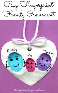 Clay Fingerprint Keepsake Ornaments for the family - a sweet and easy arts & craft idea and keepsake that the kids or the whole family can make together