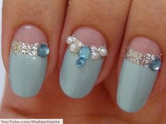 very elegant with blue, silver, pearl and crystal