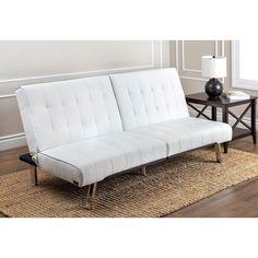 Abbyson Jackson Ivory Leather Foldable Futon Sofa Bed Beige Off White
