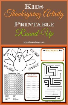 Kids-Thanksgiving-Activity-Printable-Round-Up ~ FREE Kids Printable Activity Sheets