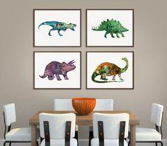 Dinosaur Art Print Set of 4 Prints Dinosaur by MiaoMiaoDesign