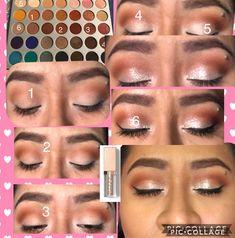 Easy jaclyn hill morphe palette look with stilla glitter - Makeup Tutorial African American Jaclyn Hill Palette, Jacklyn Hill Palette Looks, Jaclyn Hill Eyeshadow Palette, Eyeshadow For Blue Eyes, Stilla Glitter Eyeshadow, Eyeshadows, Eyeshadow Ideas, Simple Eye Makeup, Natural Eye Makeup