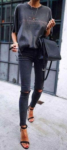 grey + black. skinny jeans. #streetstyle