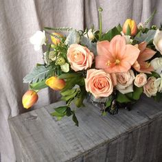"""""""This Valentine's skip the red roses and get her some gorgeous peach blooms instead! Like this beauty by @joeybutta! Call us to place your order…"""""""