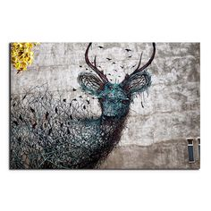 'Deer Emerges from the Branches' Contemporary Canvas Print