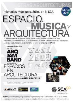 SCA | ESPACIO MÚSICA Y ARQUITECTURA  La Sociedad Central de Arquitectos, en el marco de la celebración de sus 130 años, presenta la segunda edición de su ciclo de Música en la SCA. Este año, músicos y arquitectos harán sus presentaciones conjuntamente en torno al concepto de ESPACIO.  Miércoles 1º de junio a partir de las 20 hs. en el Auditorio SCA.  Más info:http://ly.cpau.org/25x5pPY  #AgendaCPAU #Eventos #RecomendadoARQ