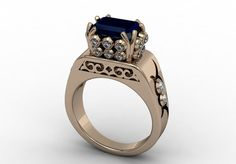 14k Rose Gold Classic Solitary Bridal Ring with Diamonds by VOLISA, $1420.00