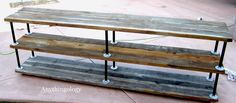 DIY this weekend: Simple shelves using weathered wood and plumbing pipe:   Anythingology: DIY Industrial Shelves