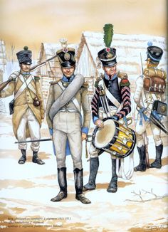Grand Duchy of Berg; Infantry Fusilier 4th Regiment in Campaign Dress, Officer Subaltern 2nd Regiment and Drummer & Fusilier 1st Regiment