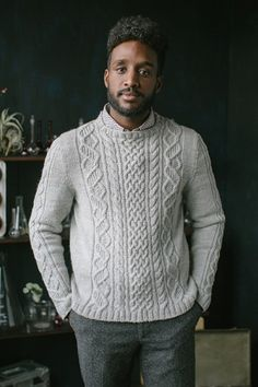 Knitting Pattern for DNA Pullover - This long-sleeved sweater puts a scientific . Mens Knit Sweater, Cable Sweater, Knit Vest, Long Sleeve Sweater, Crewneck Sweater, Pullover Design, Sweater Design, Sweater Knitting Patterns, Knitting Sweaters