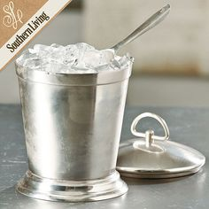 Southern Living Antiqued Silver Ice Bucket with Scoop   Ballard Designs