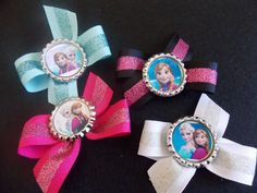 4 Disney Sparkle Frozen Princess Anna , Elsa, Olaf and the hole Gang Inspired Party Favor  hair bows Clips.. from Disneys Frozen on Etsy, $8.75