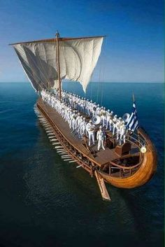 (Photo by Athanasio Panagopoulos) Greek Flag, Old Sailing Ships, Viking Ship, Wooden Ship, Ireland Landscape, Sail Away, Tall Ships, Culture Travel, Ancient Greece