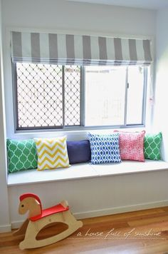 """A house full of sunshine: Our playroom and kids' rooms so far (and one heck of a """"to do"""" list! Diy Window Treatments, Diy Window, Kids Room Organization, Kids Room, Playroom, Dinning Room Decor, Home Decor, Childrens Bedrooms, Room"""