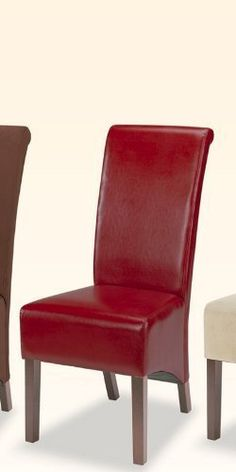 """Set of 2 Parson Style Dining Chairs with Burgundy Color - By-Cast Vinyl in a Rolled Back Design by Coaster Home Furnishings. $143.98. dining chair set. vinyl chair. chairs. dining chairs. kitchen chairs. Dimension: 18 3/4""""L x 24 3/4""""W x 40""""H Finish: Burgundy Material: Bycast Vinyl, Wood Set of 2 Parson Dining Chairs with Rolled Back Burgundy Bycast Features burgundy bycast vinyl cushion seat and back with wooden legs. Rolled back design to complete this beautiful item. T..."""