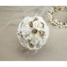 This elegant taupe rose wedding bouquet has a clear acrylic handle, taupe satin ruffle and a series of dark and light taupe satin flowers. The light flowers are decorated with pearl/rhinestone ornaments. Rose Bridal Bouquet, Wedding Bouquets, Wedding Flowers, Hand Bouquet, Wedding Bells, Wedding Colors, Wedding Ceremony, Reception, Wedding Dresses