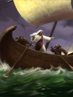 """Mark 4:39 """"He got up, rebuked the wind and said to the waves, """"Quiet! Be still!"""" Then the wind died down and it was completely calm."""" JIM MADSEN: Illustrator"""