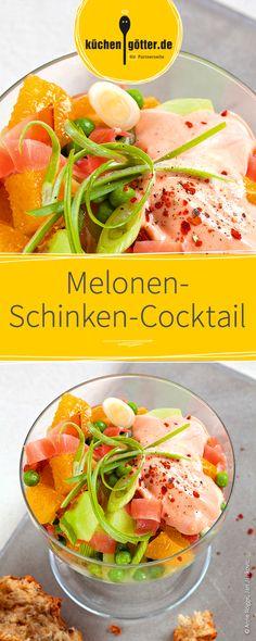 Erfrischender Salat mit Melone und Schinken.