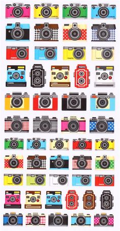 cute retro camera stickers from Japan Crux