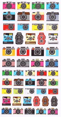 cute retro camera stickers from Japan Crux