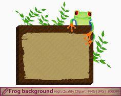 Frog wood banner clipart, frog wooden panel clip art, frog background, scrapbooking, digital instant download, png jpg 300dpi